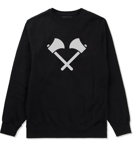 2 Ax Fireman Logo Black Crewneck Sweatshirt by Kings Of NY
