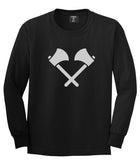2 Ax Fireman Logo Black Long Sleeve T-Shirt by Kings Of NY