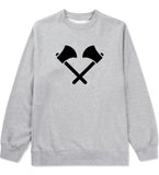 2 Ax Fireman Logo Grey Crewneck Sweatshirt by Kings Of NY