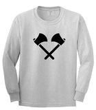 2 Ax Fireman Logo Grey Long Sleeve T-Shirt by Kings Of NY