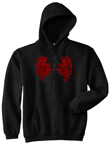 2 Chinese Dragon Pullover Hoodie in Black