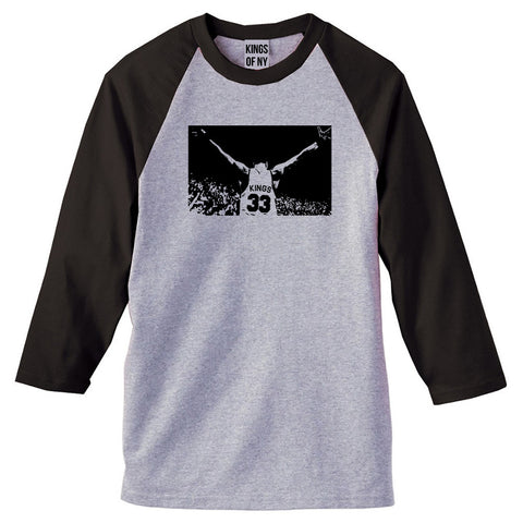 33 KINGS 3/4 Sleeve Raglan T-Shirt in Grey