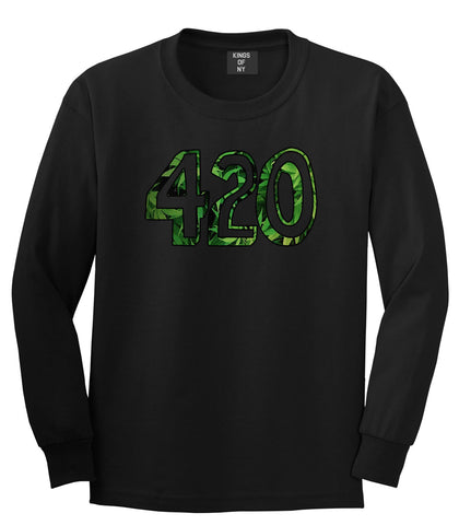 420 Weed Marijuana Print Long Sleeve T-Shirt in Black by Kings Of NY