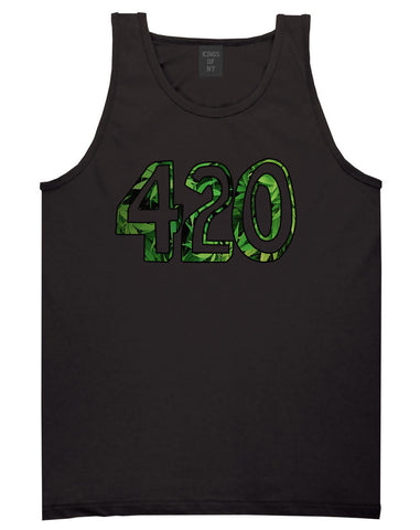 420 Weed Marijuana Print Tank Top in Black by Kings Of NY