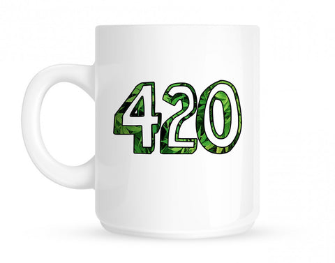 420 Weed Marijuana Print Coffee Tea Mug in White by Kings Of NY