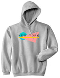 70s New York Spring Pullover Hoodie in Grey
