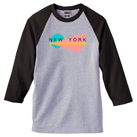 70s New York Spring 3/4 Sleeve Raglan T-Shirt in Grey