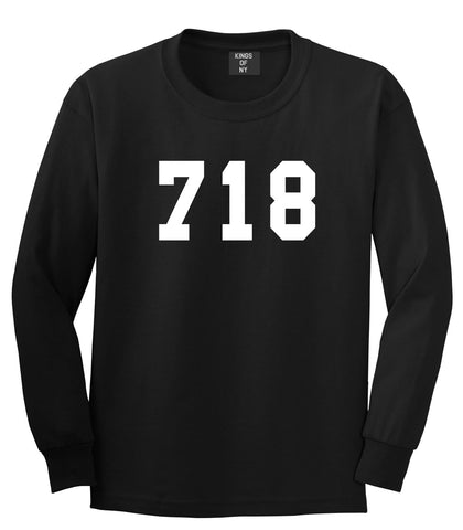 718 New York Area Code Long Sleeve T-Shirt in Black By Kings Of NY