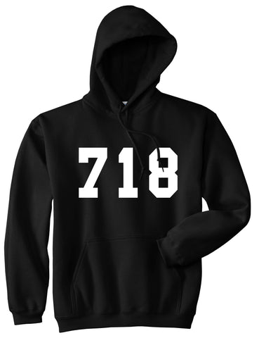 718 New York Area Code Pullover Hoodie in Black By Kings Of NY