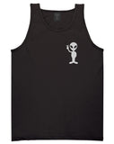 Alien Peace Sign Chest Black Tank Top Shirt by Kings Of NY