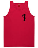 Alien Peace Sign Chest Red Tank Top Shirt by Kings Of NY