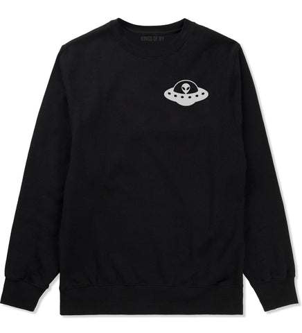 Alien Spaceship Chest Mens Black Crewneck Sweatshirt by Kings Of NY