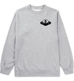 Alien Spaceship Chest Mens Grey Crewneck Sweatshirt by Kings Of NY