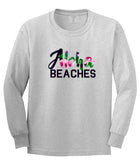 Aloha Beaches Grey Long Sleeve T-Shirt by Kings Of NY