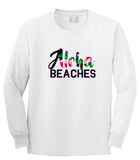 Aloha Beaches White Long Sleeve T-Shirt by Kings Of NY