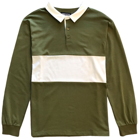 Mens Army Green and White Striped Long Sleeve Polo Rugby Shirt