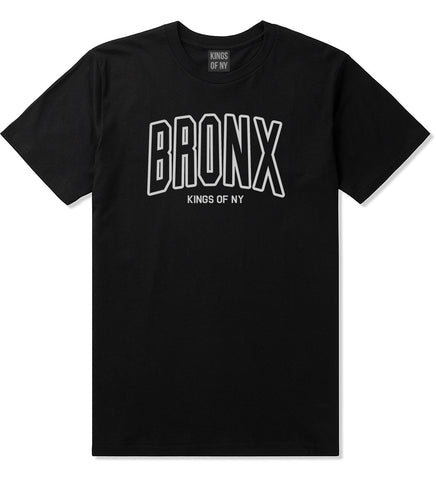 BRONX College Outline Mens T-Shirt Black by Kings Of NY