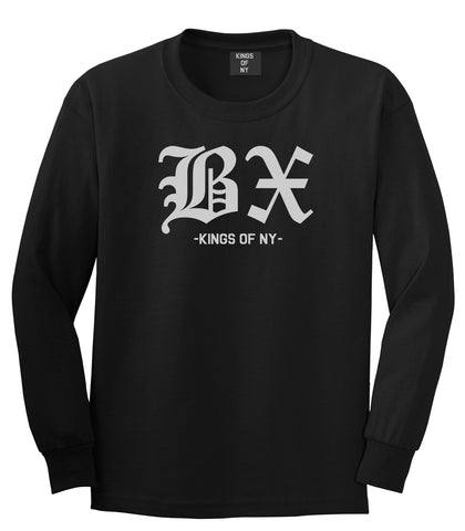 BX Old English Bronx New York Long Sleeve T-Shirt in Black