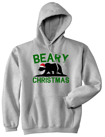 Beary Christmas California Bear funny Grey Mens Pullover Hoodie