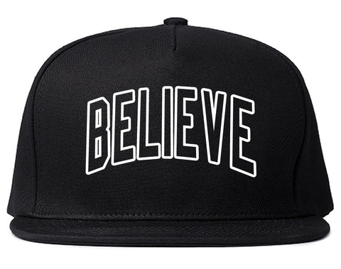 Believe Outline Mens Snapback Hat Black