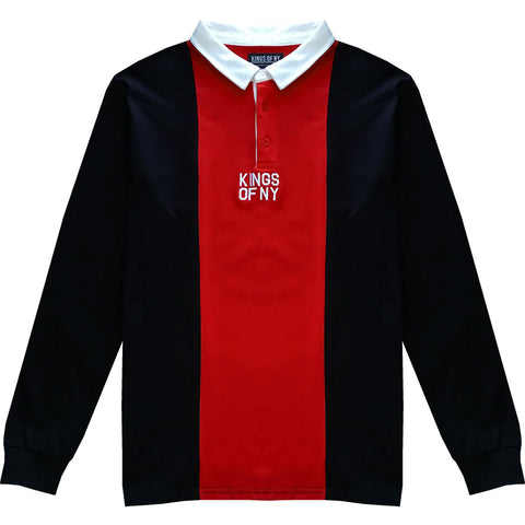 Black and Red Logo Vertical Striped Long Sleeve Rugby Shirt