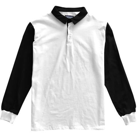 Black and White Colorblock Mens Long Sleeve Polo Rugby Shirt