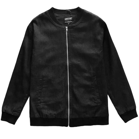 Black Denim Mens Classic Bomber Jacket