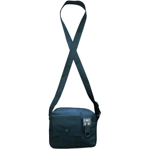 Black Front Pocket Mens Canvas Crossbody Sling Bag