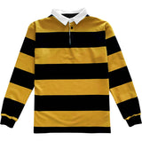 Classic Black and Yellow Striped Rugby Shirt Front