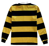 Classic Black and Yellow Striped Rugby Shirt Back
