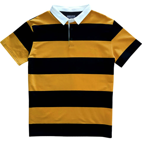 Black and Yellow Short Sleeve Striped Men's Rugby Shirt