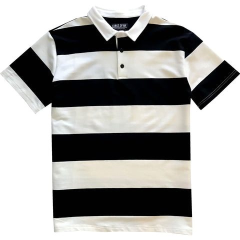 Black and White Short Sleeve Striped Men's Rugby Shirt