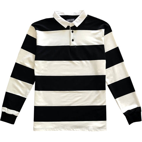 Black and White Comfortable Stretch Striped Mens Rugby Shirt