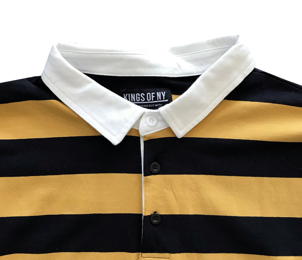 1746c4ce51 Black and Yellow Striped Mens Rugby Shirt – KINGS OF NY