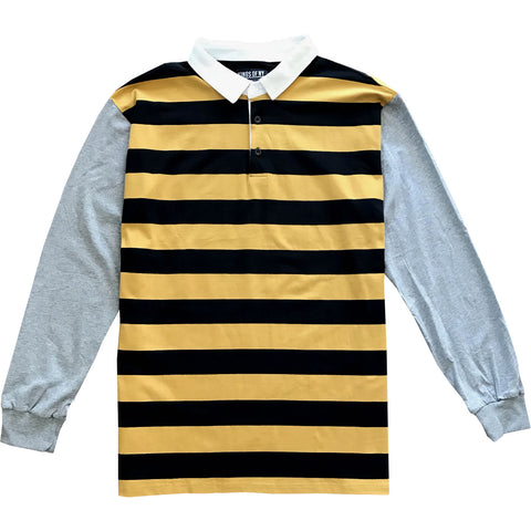 Black and Yellow Striped Mens Rugby Shirt