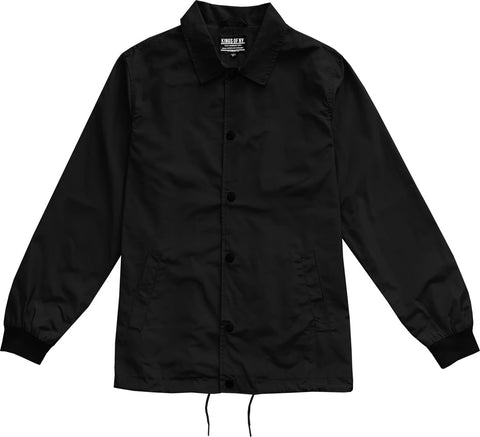 Black Mens Nylon Windbreaker Coaches Jacket