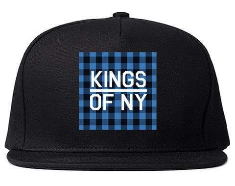 Blue Buffalo Plaid Box Logo Mens Snapback Hat Black