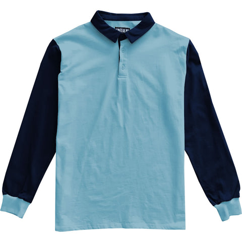 Light And Dark Blue Colorblock Mens Long Sleeve Polo Rugby Shirt