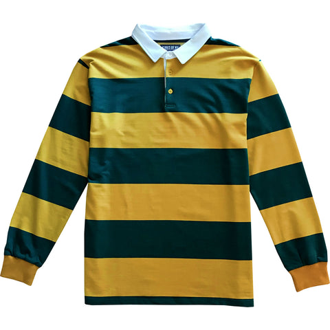 Blue Green And Yellow Striped Mens Rugby Shirt