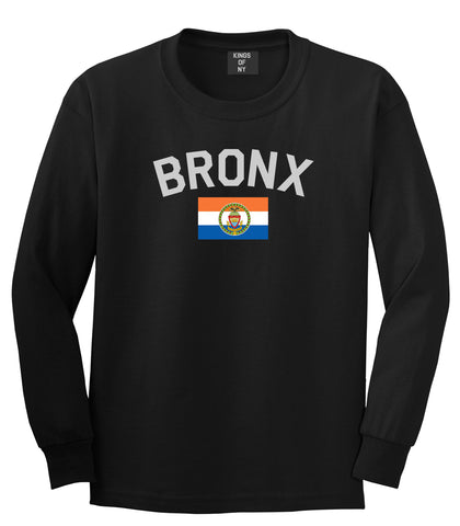 Bronx Flag Mens Long Sleeve T-Shirt Black