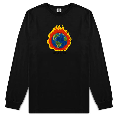 Burning Earth Mens Long Sleeve T-Shirt Black
