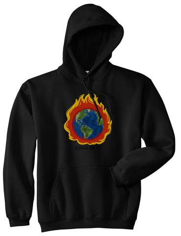 Burning Earth Mens Pullover Hoodie Black