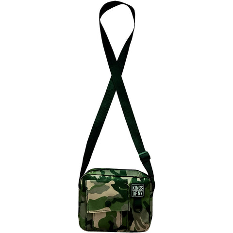 Camo Front Pocket Mens Canvas Crossbody Sling Bag