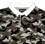 Green Camo Printed Mens Long Sleeve Rugby Shirt Collar