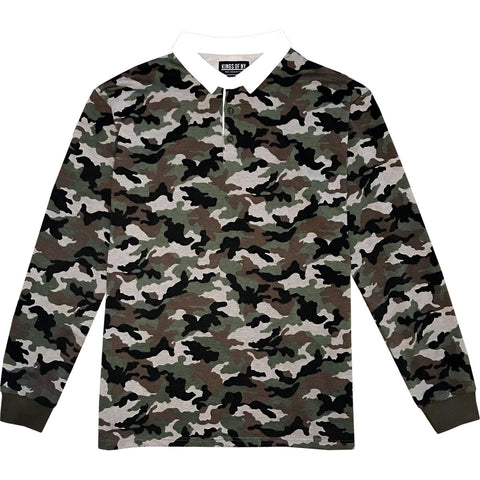 Green Camo Printed Mens Long Sleeve Rugby Shirt