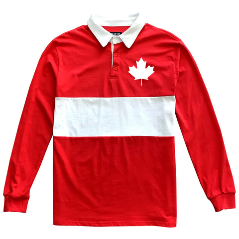 Canada Maple Leaf Red Mens Long Sleeve Rugby Shirt