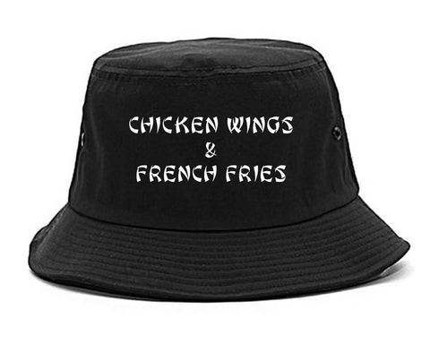 Chicken Wings And French Fries Black Bucket Hat