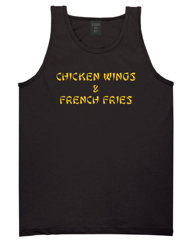 Chicken Wings And French Fries Tank Top Shirt in Black