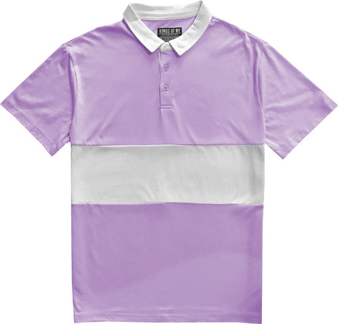 Classic Lavender Purple And White Striped Mens Short Sleeve Polo Rugby Shirt