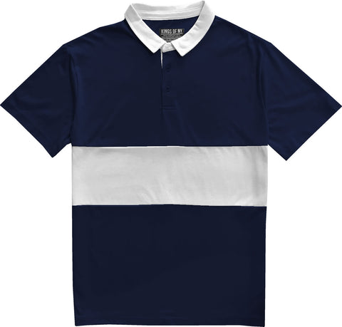 Classic Navy Blue And White Striped Mens Short Sleeve Polo Rugby Shirt